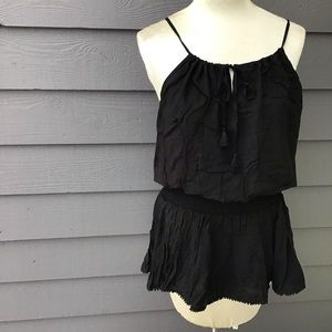 VICTORIA'S SECRET black rayon peplum top tank S M